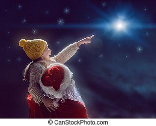 estrela, claus, olhar, santa, menina, natal