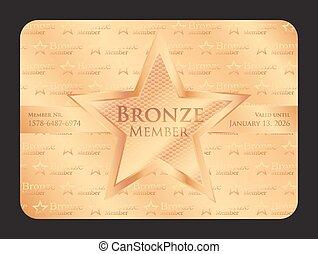 estrela, clube, grande, membro, bronze, cartão