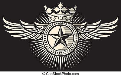 estrela, coroa, e, asas, tatuagem