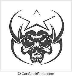 estrela, cranio, abstratos,  -, elemento, vetorial