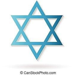 estrela david, judaísmo, símbolo., vetorial, desenho