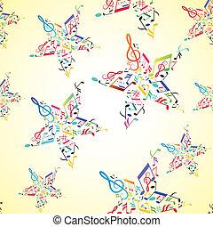estrela, dentro, seamless, nota, música, fundo