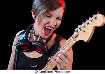 estrela, elétrico, dela, guitar., segurando, rocha, excitado, menina