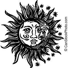 estrela, human, vindima, caras, ilustração, lua, vetorial, retro, folclore, sol