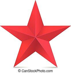 estrela, isolado, vetorial, branca, vermelho,  3D