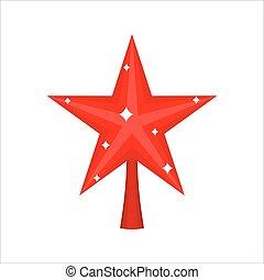 estrela, isolated., fir-tree, ornamento, decoração, árvore., ano, novo, natal, vermelho