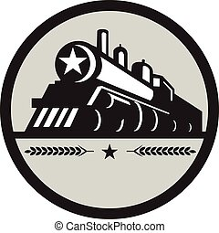 estrela, locomotiva, trem, retro, círculo, vapor