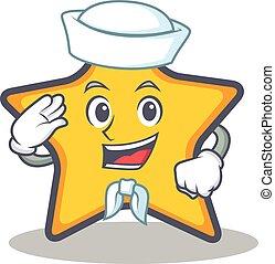 estrela, marinheiro, personagem, estilo, caricatura