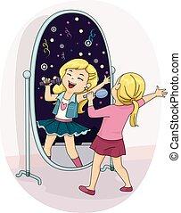 estrela, menina, criança, estouro, cantando, espelho