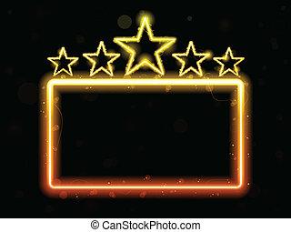 estrela, néon, filme, sinal, com, copyspace