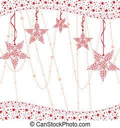 estrela, natal, fundo, vermelho