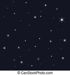 estrela, nevado, céu, enchido, noturna