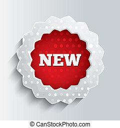 estrela, oferta, button., vidro, novo, icon., especiais