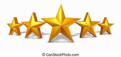 estrela ouro, avaliação, com, cinco, dourado, estrelas
