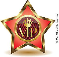estrela ouro, com, um, vip.vector