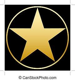 estrela ouro, em, um, dourado, circle., simples, form., apartamento, vetorial, image.
