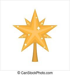 estrela, ouro, isolated., fir-tree, ornamento, decoração, árvore., ano, novo, natal