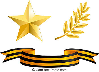 estrela ouro, laurel, ramo, e, george, fita