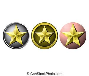 estrela, ouro, medalhas