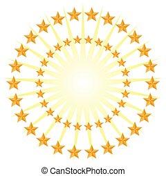 estrela ouro, padrão círculo, energia, estouro, isolado, branco, fundo