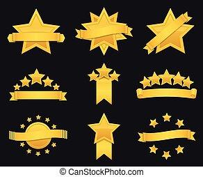 estrela ouro, vetorial, distinção, fita