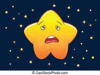 estrela, personagem, ilustração, triste, vetorial, ...