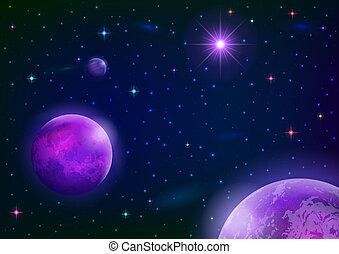 estrela, planetas, fundo, espaço