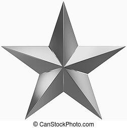 estrela, ponto, metal, -, isolado, 5, christmas branco