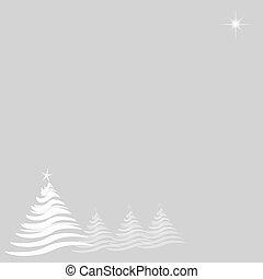 estrela, prata, árvores, natal