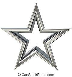 estrela, prata, 3d