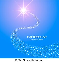 estrela, rabo, ilustração, glowing, luminoso, fundo, cometa,...