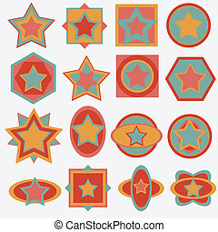 estrela, retro, fundo, etiqueta