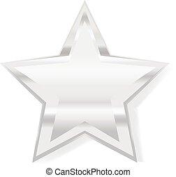 estrela, símbolo, ilustração, vetorial, prata, 3d