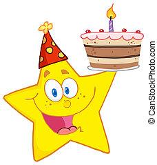 estrela, segurando, um, bolo aniversário