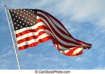 estrela, spangled, bandeira