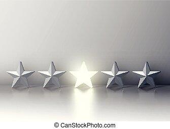 estrela, torcida, uns, cinzento, ilustração, glowing, vetorial, carrinho