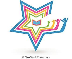 estrela, trabalho equipe, estudantes, livro, logotipo
