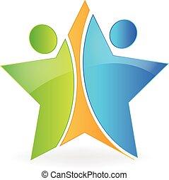 estrela, trabalho equipe, logotipo