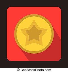 estrela, um círculo, ícone, apartamento, estilo