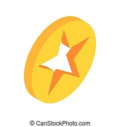 estrela, um círculo, ícone, isometric, 3d, estilo