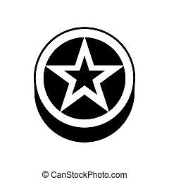 estrela, um círculo, ícone, simples, estilo