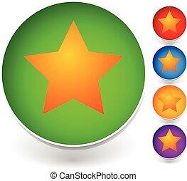 estrela, um círculo, icon., vetorial, graphics.