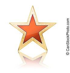 estrela vermelha, com, dourado, quadro, branco