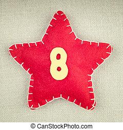 estrela vermelha, com, madeira, numere 8, ligado, vindima, tecido, fundo