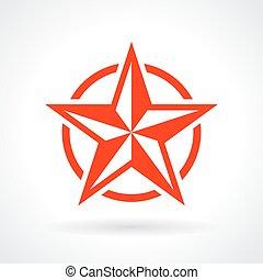 estrela, vermelho, ícone