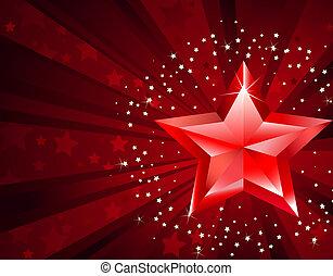 estrela, vermelho, puro
