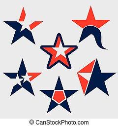 estrela, vetorial, ícones, cobrança