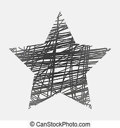 estrela, vetorial, experiência preta, desenhado, branca