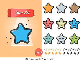estrela, vetorial, ilustração, jogo, branco, experiência., um, caricatura, style.