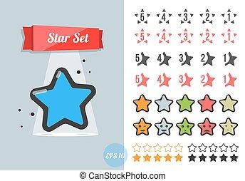 estrela, vetorial, set.